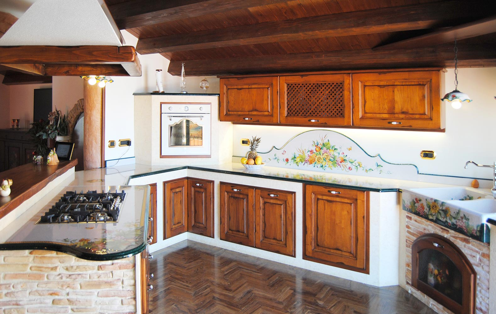 Forno Cucina In Muratura le cucine d'arte in muratura smontabile con top decorati a mano
