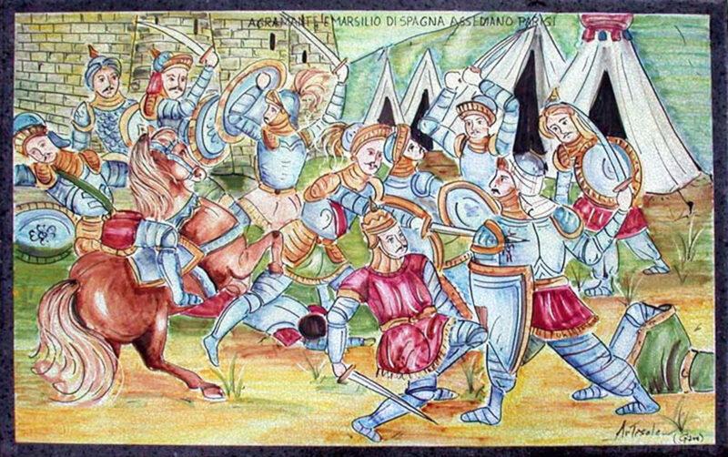 Pannello decorativo con Agramante e Marsilio di Spagna assediano Parigi