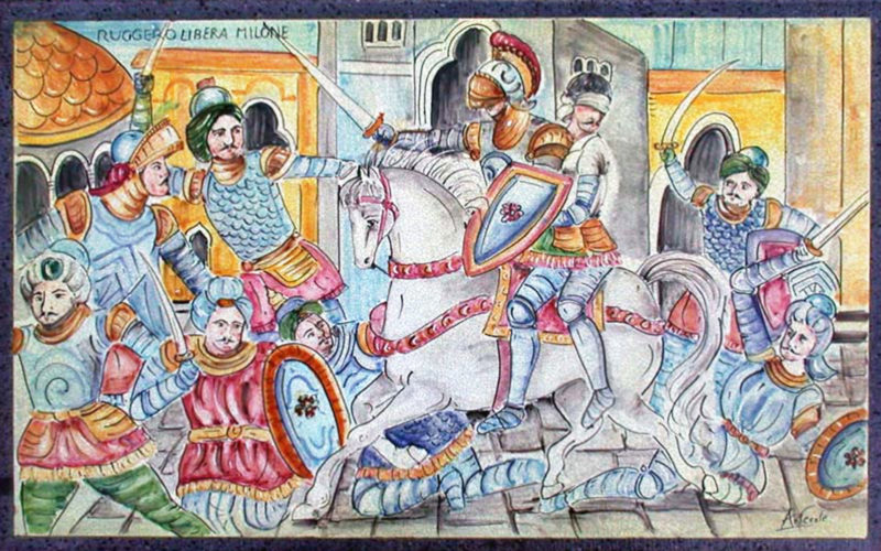 Pannello in pietra lavica con rappresentazione di Ruggero che libera Milone, decorato a mano