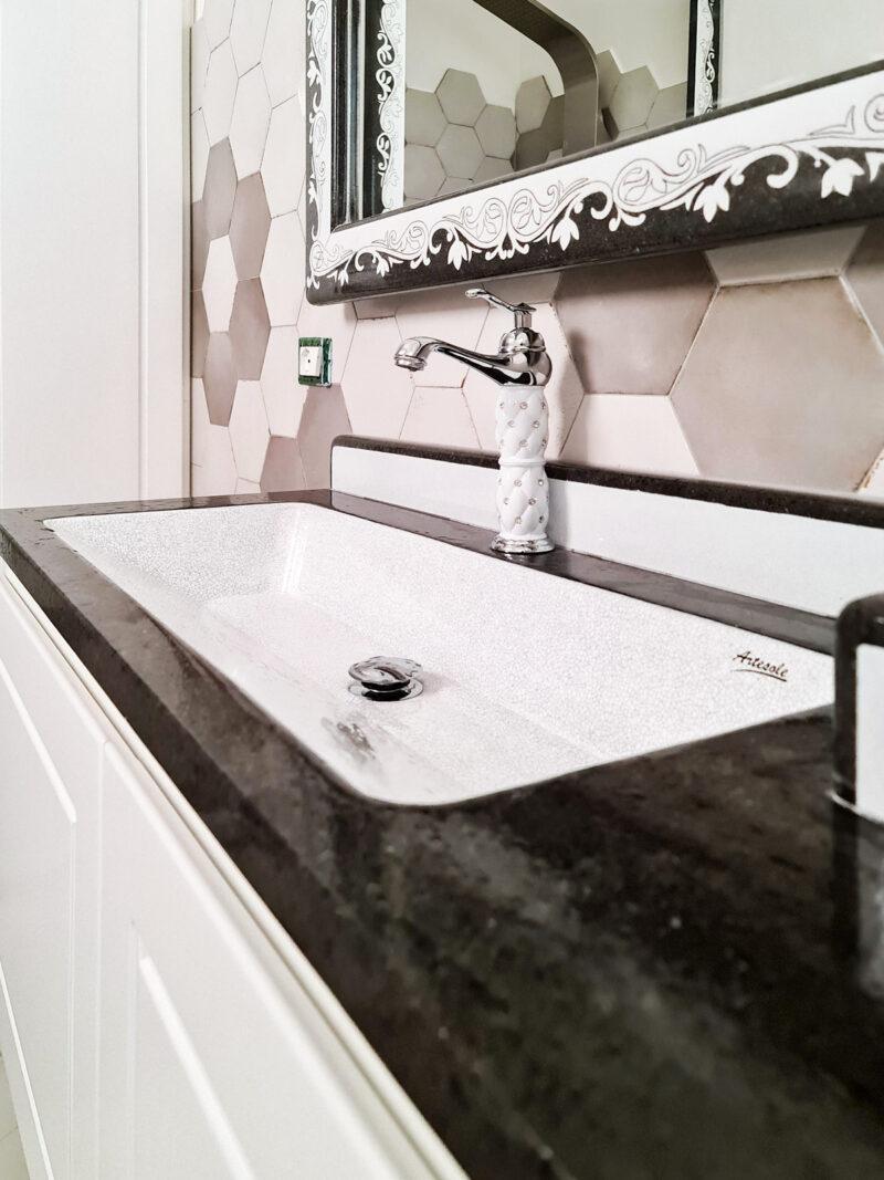 bagno moderno su misura pietra lavica