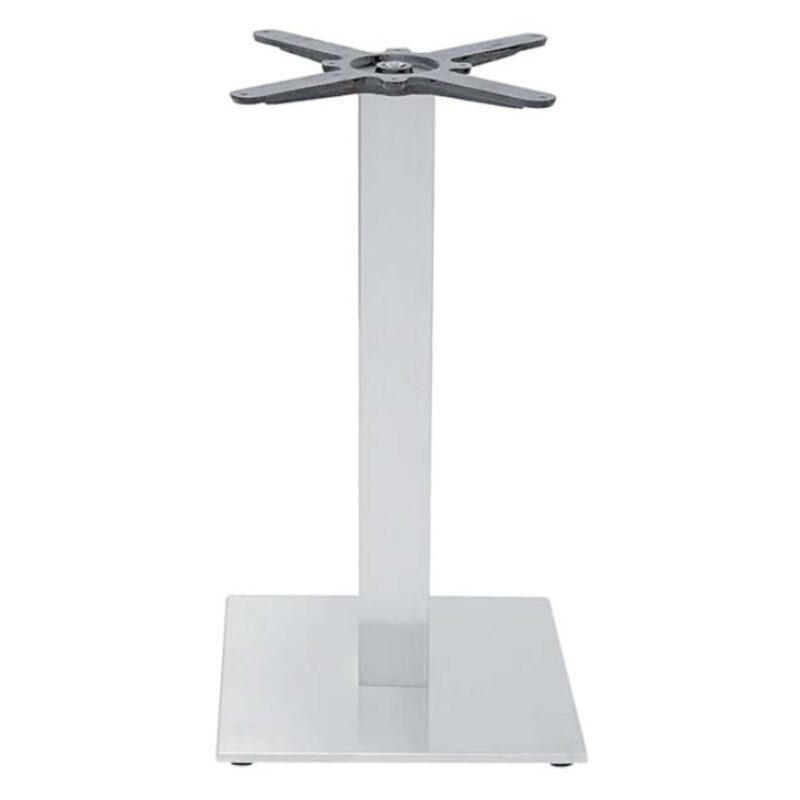 Base per tavolo in acciaio satinato con base 40x40 h73