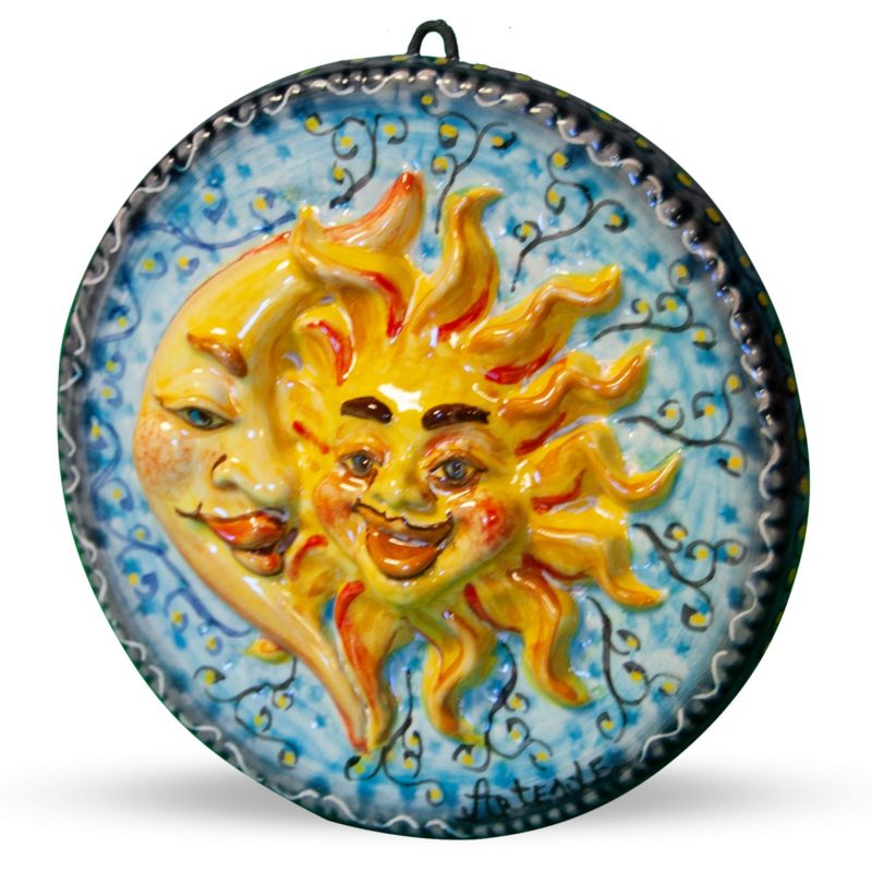 Bomboniera Sole Luna in ceramica decorata a mano