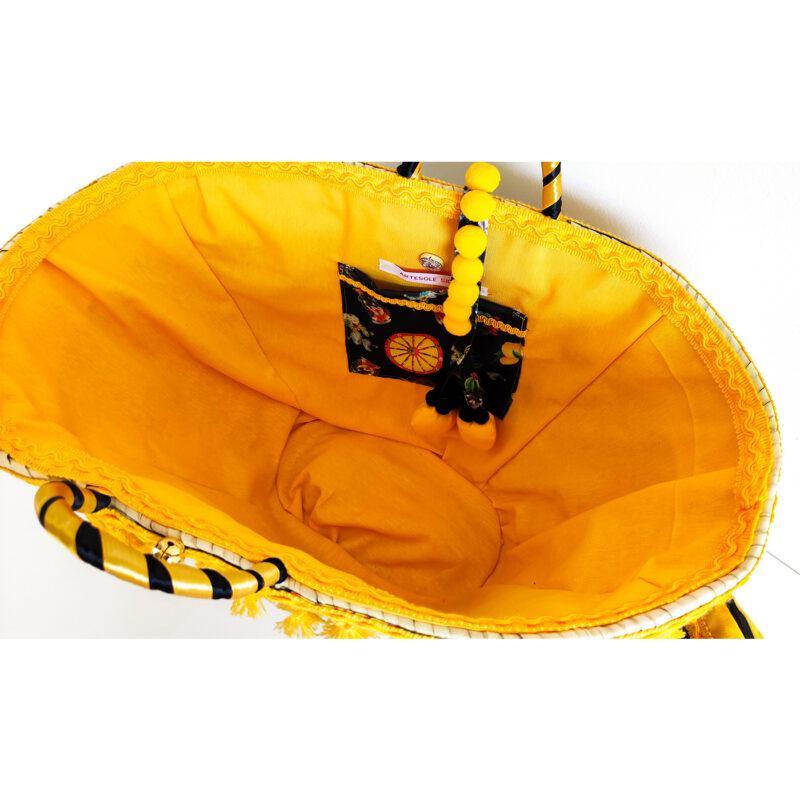 borsa con interno giallo