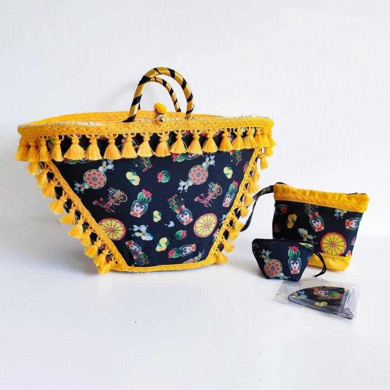 borsa con merletti e decori siciliani