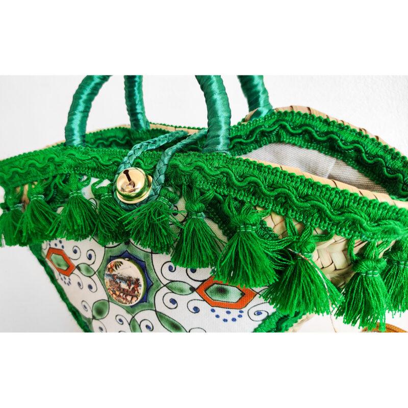 borsa con merletti verdi