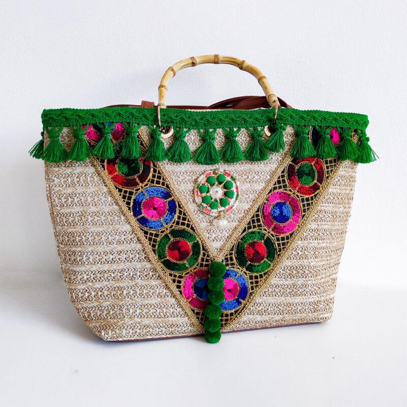borsa siciliana con merletti verdi