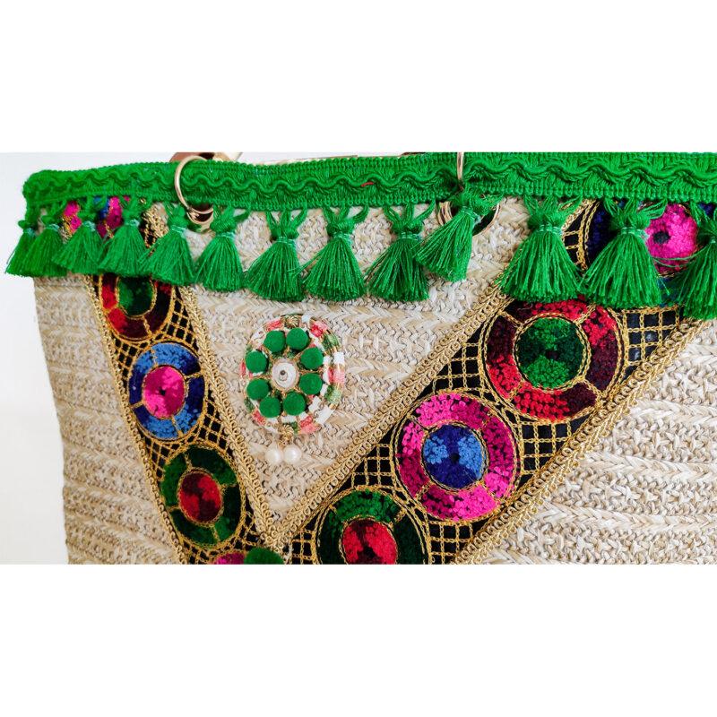 borsa siciliana con merletti verdi particolare