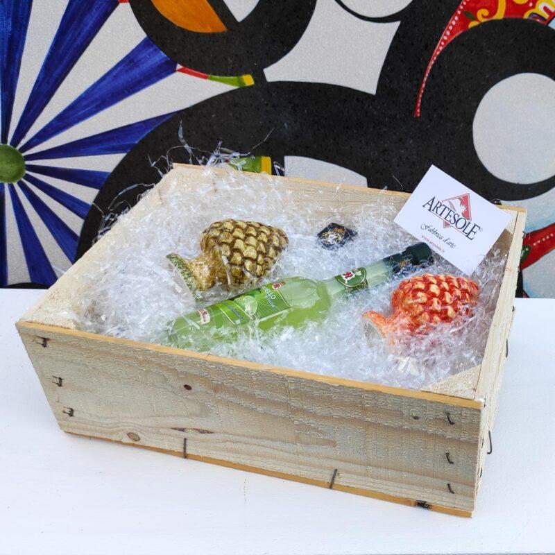 Box Regalo con Pigne in ceramica e verdello