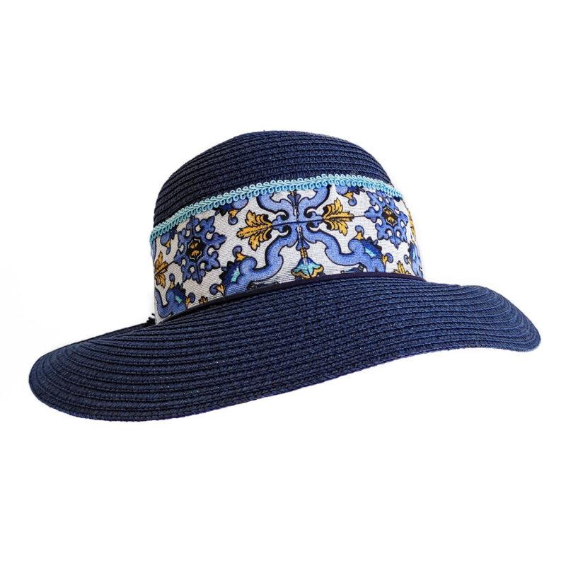 Cappello siciliano blu decorato
