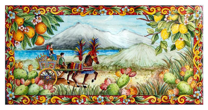Carretto Siciliano decorato a mano su pietra lavica ceramizzata. decoro carretto siciliano, arance, limoni, fichi d'india e Etna