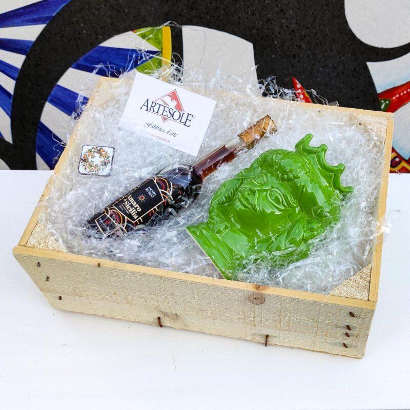 Cofanetto Box in legno regalo con testa di moro e amaro