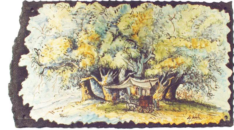 pannello in pietra lavica con dipinto Castagno dei cento cavalli