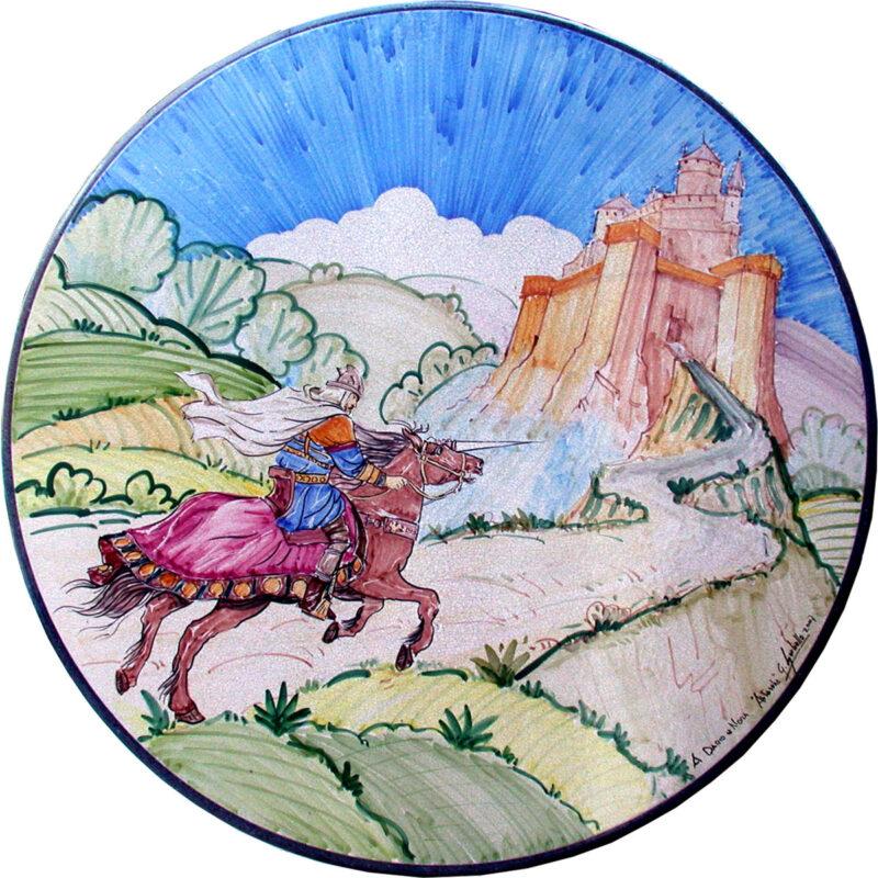 assolato al castello dipinto a mano su pietra lavica