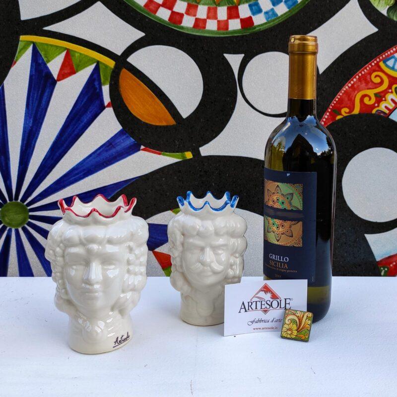 Cofanetto Box regalo con 2 teste di moro, vino e tassello in pietra lavica