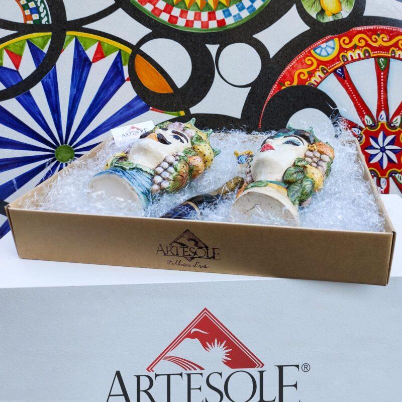 Cofanetto box regalo con 2 teste di moro decorate a mano