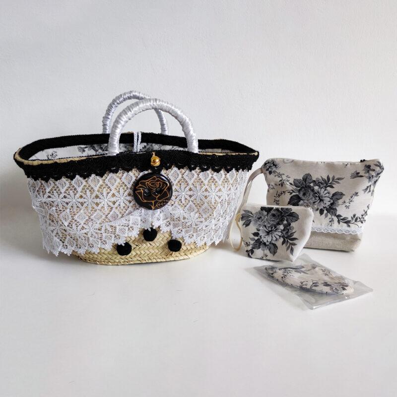 coffa pochette portamonete mascherina con decorazioni floreali