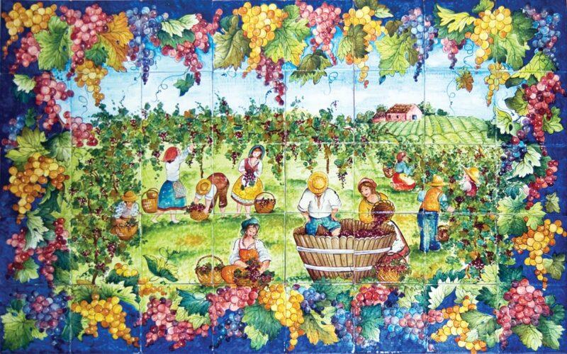 composizione di mattonelle in ceramica dipinte a mano con decoro vendemmia