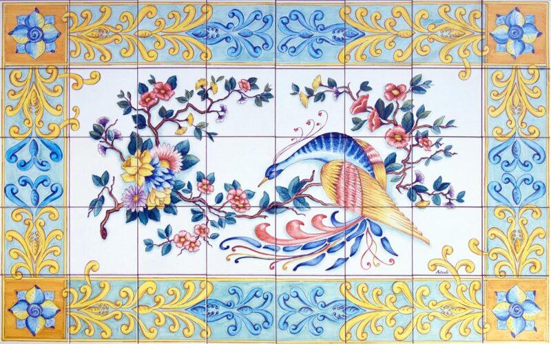 composizione di piastrelle in ceramica decorate a mano