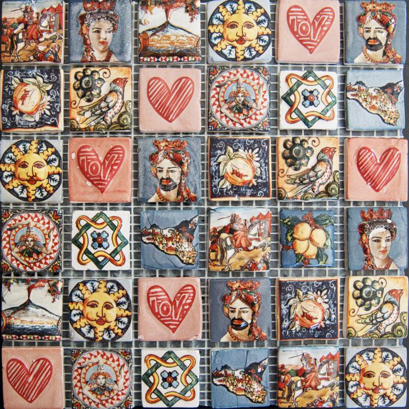 Mattonella 20x20 composizione di mattonelle a a rilievo su rete