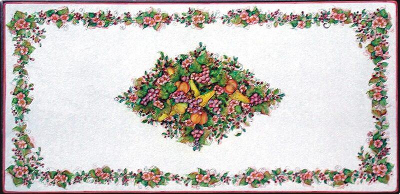 Tavolo in pietra lavica dipinto a mano con decoro fiori e frutta