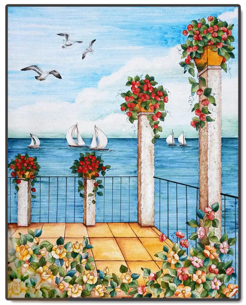 dipinto su pietra lavica. terrazza con vista mare