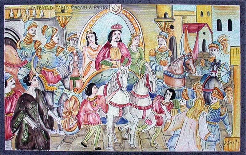 pannello decorativo in pietra lavica con decoro Entrata di Carlo Magno a Parigi, dipinto a mano