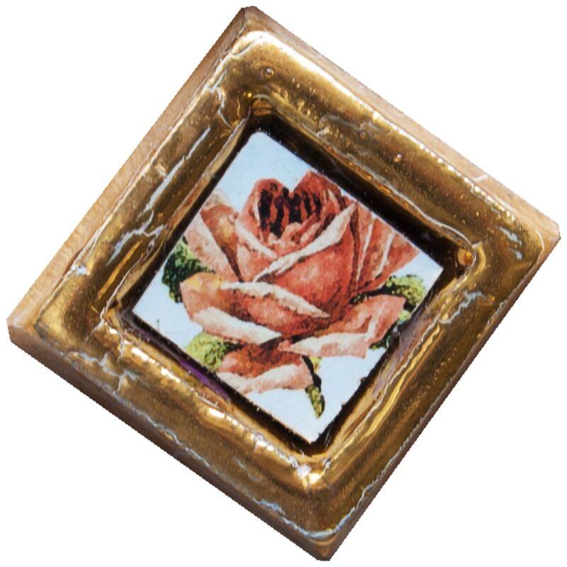 Mattonella contenitore in ceramica e pietra lavica con oro. vendita all'ingrosso.