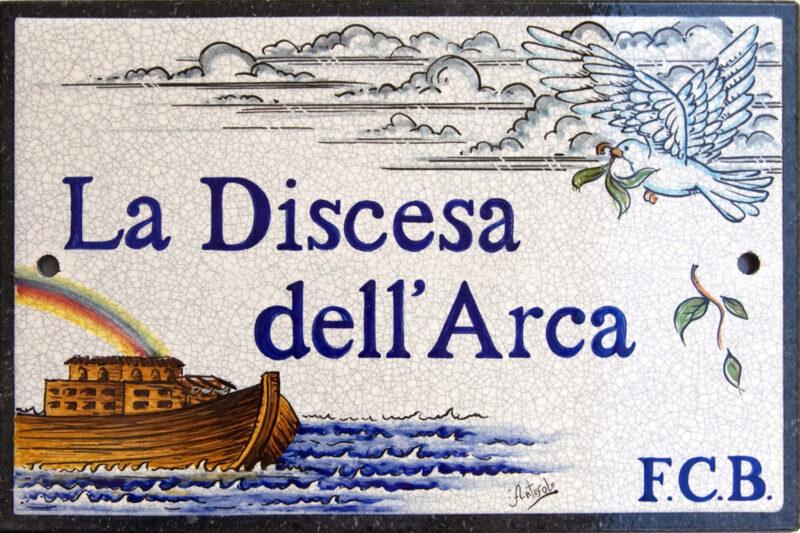 La Discesa dell'Arca: dipinto su pietra lavica realizzabile su misura