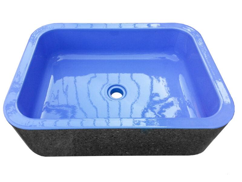 Lavabo da appoggio in pietra lavica con interno blu
