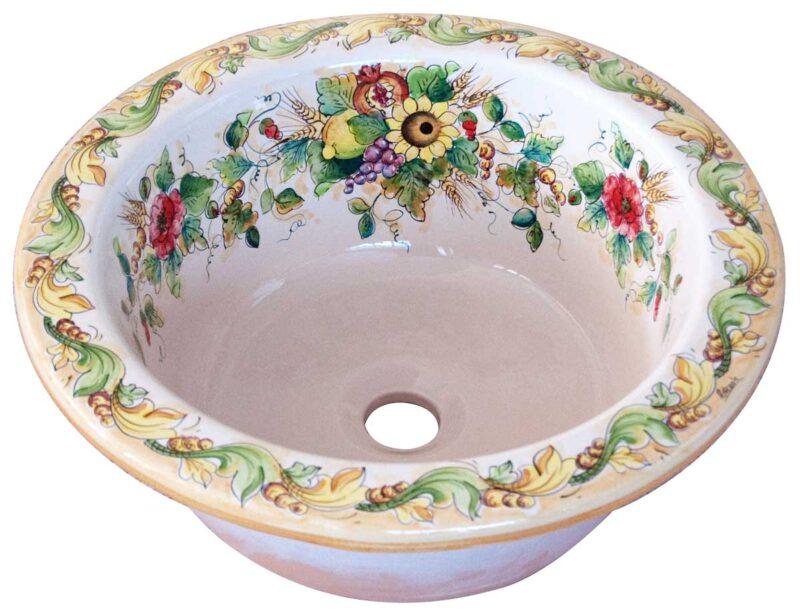 lavello in ceramica decorato a mano in stile Caltagirone