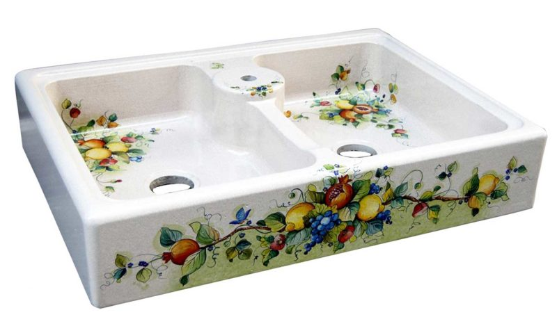 lavello 2 vasche in pietra lavica scavato e decorato a mano