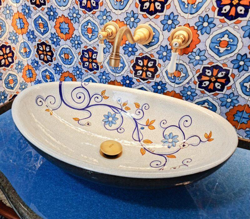 Lavello Bagno in Pietra Lavica decorato a mano