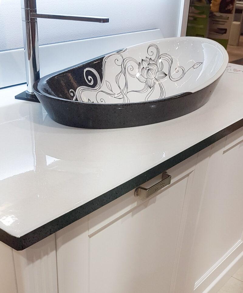 Top e lavello in pietra lavica smaltata bianca e ceramizzata