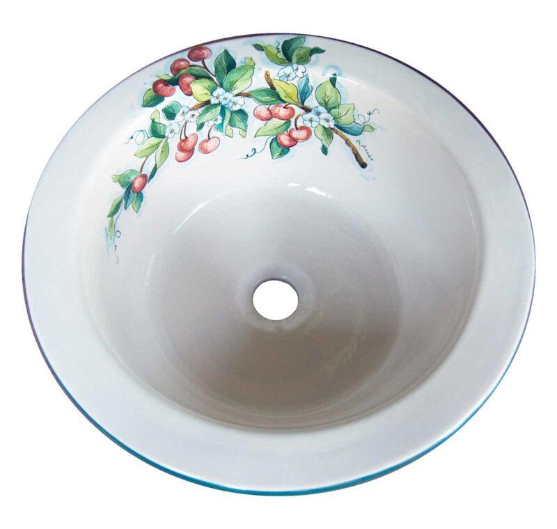 lavello in ceramica con decoro ciliegie, decorato a mano