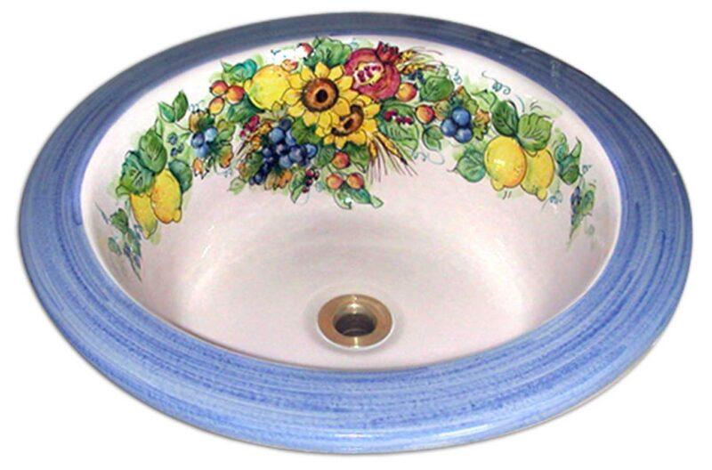 lavello in ceramica dipinto a mano con decoro girasoli