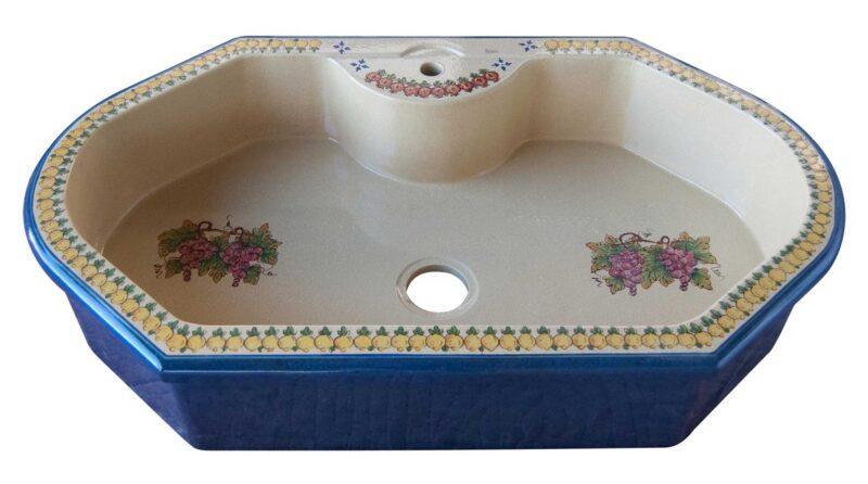 lavello cucina in pietra lavica da incasso, decorato a mano