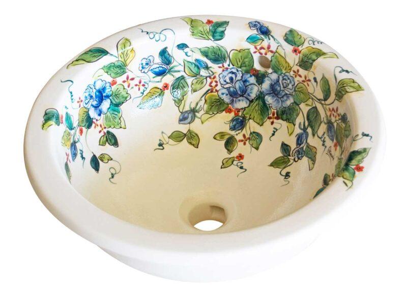 lavello cucina in ceramica decorato a mano