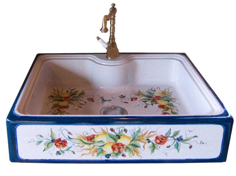 lavello cucina in pietra lavica decorata a mano