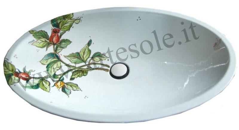 Lavello ovale decorato a mano in pietra lavica