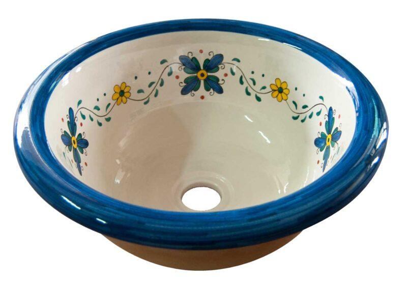 lavello in ceramica decorato a mano