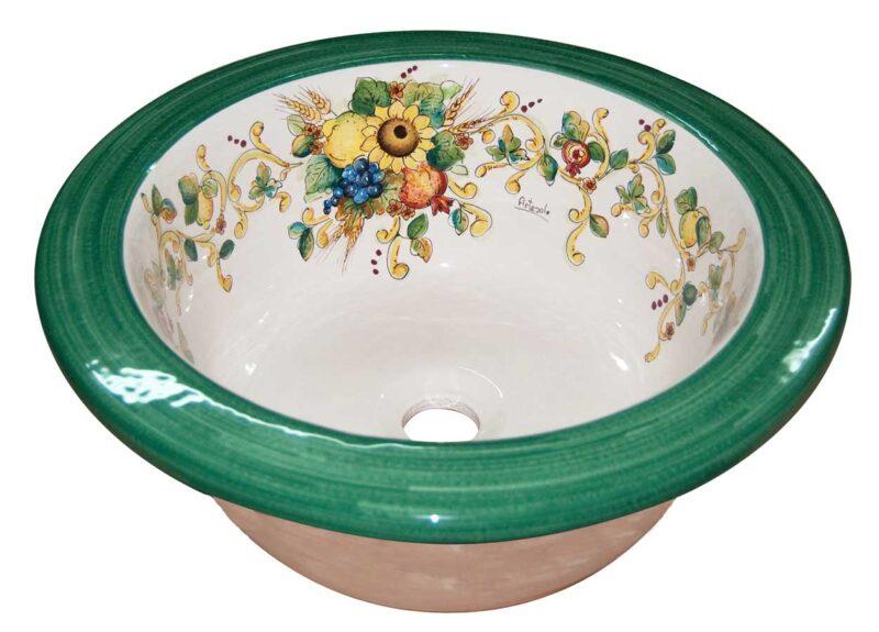 lavello in ceramica per cucina in muratura, decorato a mano in stile Caltagirone