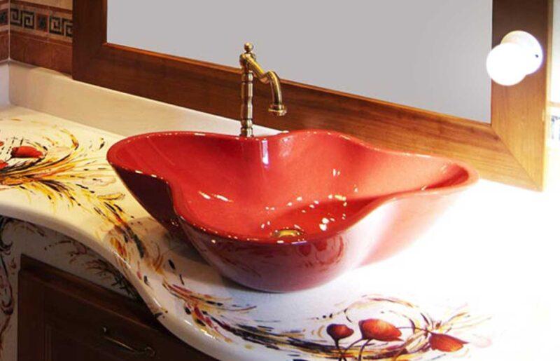 lavello in pietra lavica da appoggio monocolore rosso