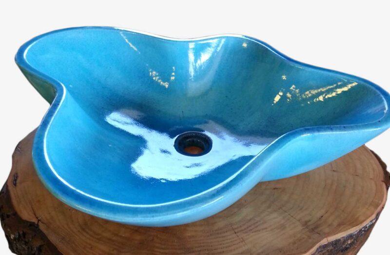 Lavello in pietra lavica da appoggio colore blu mare