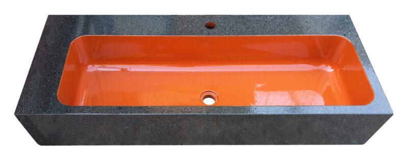 Lavello rettangolare in pietra lavica con interno arancione