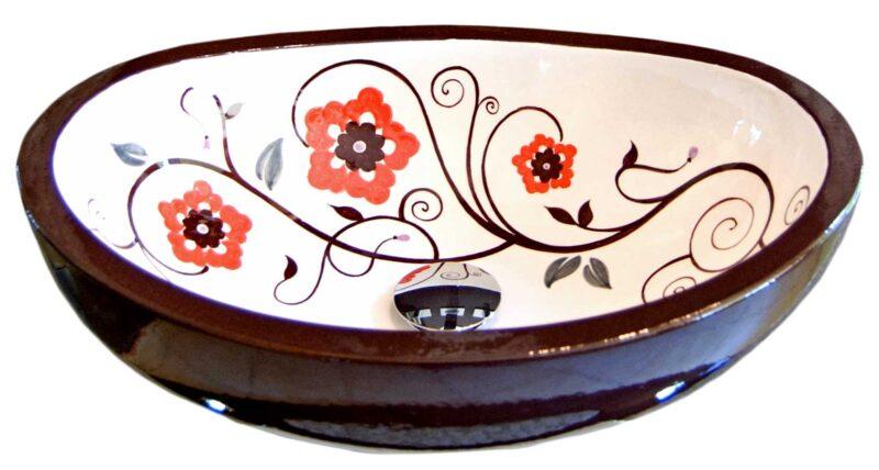 Lavello sopra top in pietra lavica decorata a mano, decoro moderno floreale
