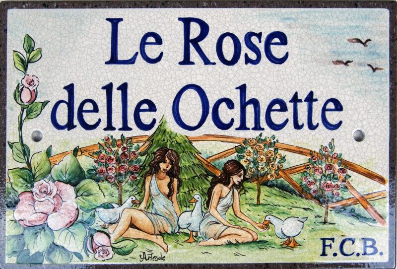 Le Rose delle Ochette, pannello decorativo in pietra lavica con decoro e scritta personalizzabile