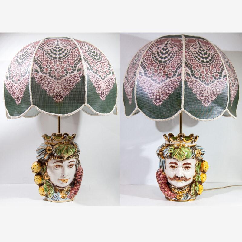 Lumi teste di moro coppia uomo donna decorati a mano