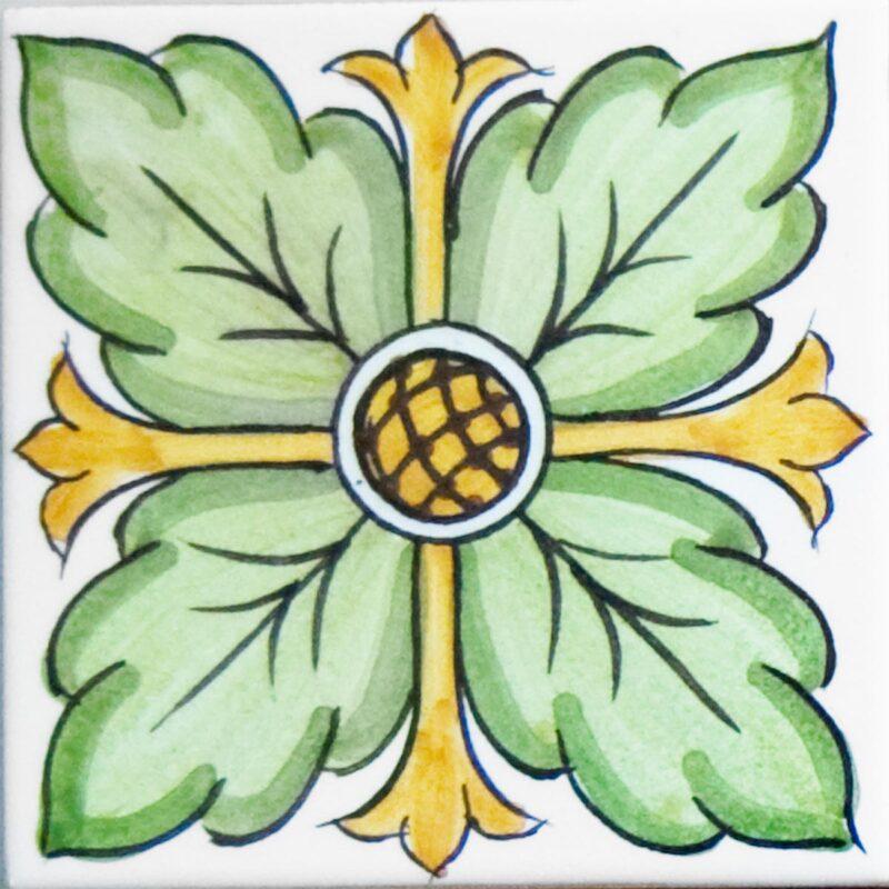 mattonella decorata a mano con fiore