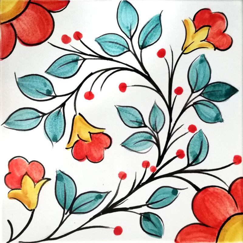 mattonella in ceramica / pietra lavica con fiori decorati a mano