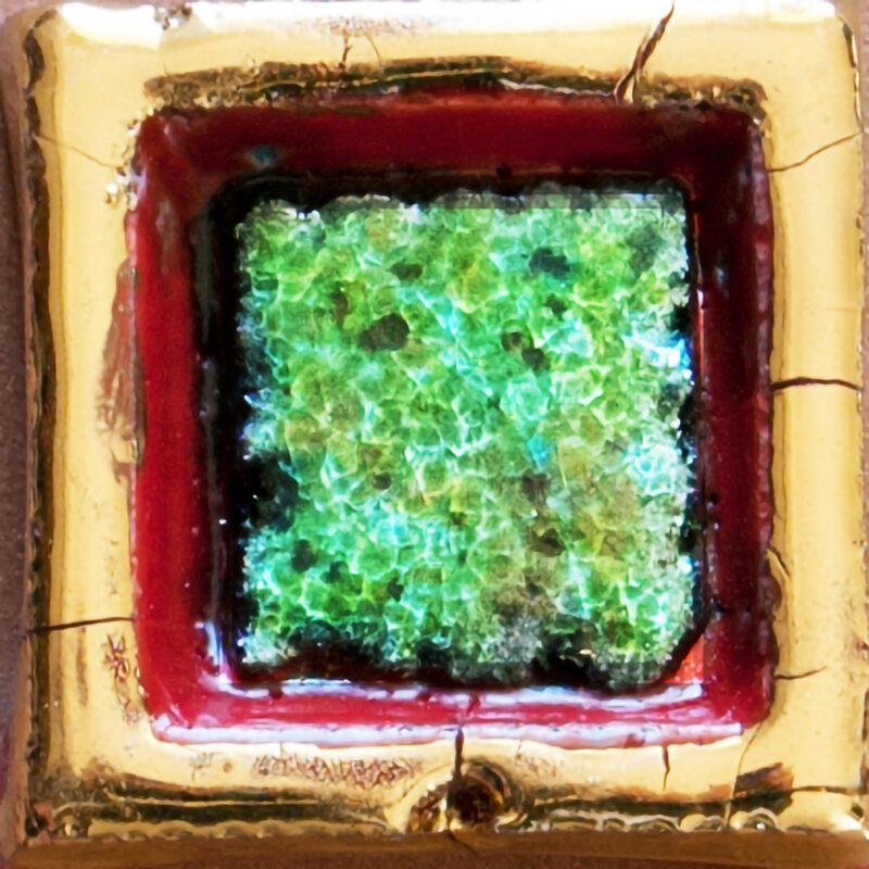 mattonella contenitore con pietra lavica verde